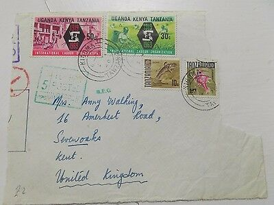 4 Kenya Uganda Tanganyika Stamps on Part Envelope to Kent 1969