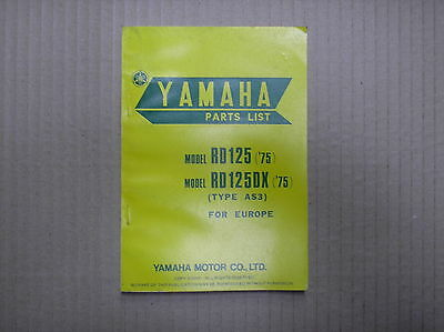 Yamaha 125 RD125 RD125DX type AS3 1975 genuine parts catalogue 476-28198-E5 USED