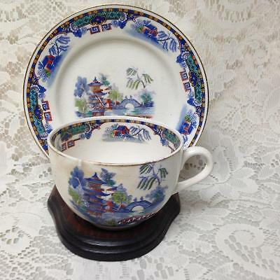Vintage, Rare, England, Variant, Gaudy Blue Willow Cup and Breadplate (c)