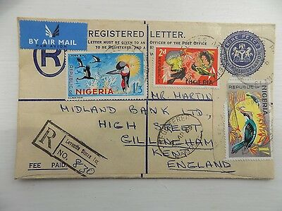 3 Nigeria Stamps Air Mail Registered Envelope Posted to Kent England 1969