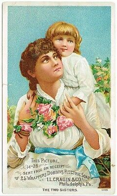 Vintage - Beaver Falls, PA - Dobbins Electric Soap - The Two Sisters- Trade Card
