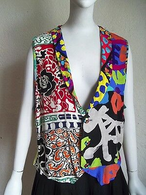 Vintage 90s JAMS WORLD M554 SLOUCHY Rayon Mixed Pattern Back Tie Vest L/XL USA