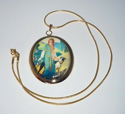 Vintage Alt Art Greco-Roman Lady and Greyhound Pendant, GP Snake Chain Necklace