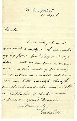 GB 1800's Letter From Baron Gambier