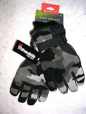 Tek Gear Youth Greys & Black Camouflage Microfleece Gloves Size Xl  8/20   Nwt