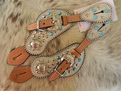 Cowhide Overlay TURQUOISE Stud Light Leather Ladies Western Spur Straps New