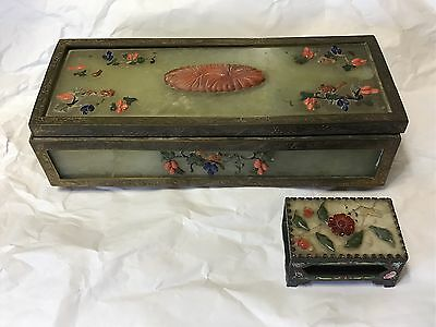 Old Chinese Jade Coral Lapis Brass Soapstone Long Divided Box & Matchbox Holder