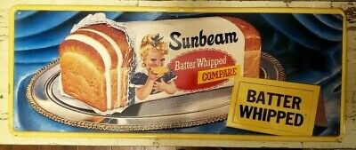"""1950's SUNBEAM BREAD at it's Best Sign -- 55"""" embossed -- Rare Girl w/ Blue Bow"""