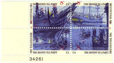 1973 Boston Tea Party Plate Block- misprinted, red color shift, Scott #1480–1483