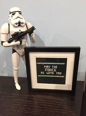 Star Wars Cross Stitch - May The Force Be With You - Framed