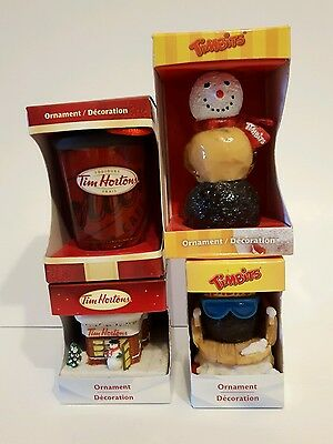Set of 4 Tim Hortens Christmas Ornaments Tim Bits Advertising Coffee Cup Timbits