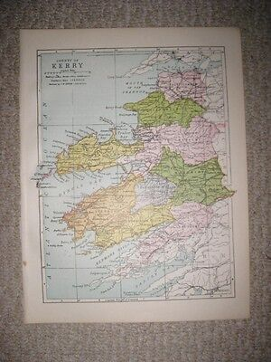 Antique 1914 County Kerry Ireland Map Railroad Detailed Fine Rare Nr