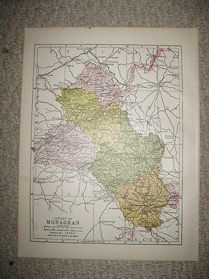 Antique 1914 County Monaghan Ireland Map Railroad Detailed Fine Rare Nr