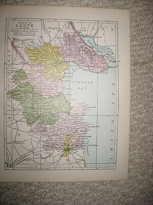 Antique 1914 County Louth Ireland Map Railroad Detailed Fine Rare Nr
