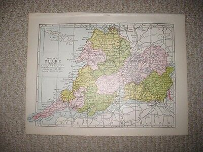 Antique 1914 County Clare Ireland Map Ennis Kilrush Detailed Fine Rare Nr