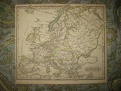 Antique 1828 Europe Handcolored Map Poland Hungary Russia Germany Italy France