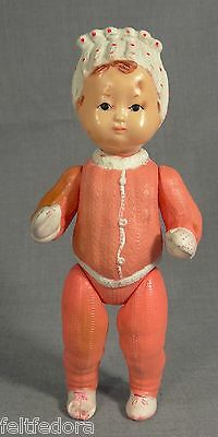 1950 Russian Ohk Celluloid Baby Girl Doll Toy Bonnet Costume Fully Jointed 10''