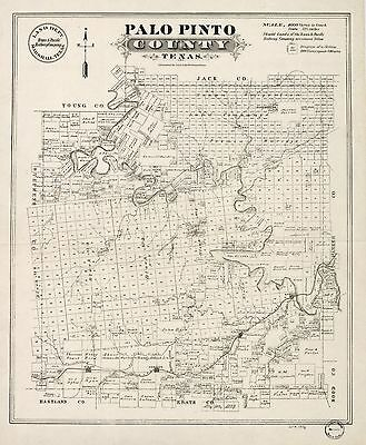 12x18 inch Reprint of American Cities Towns States Map Palo Pinto County Texas