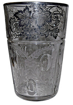 "Duncan and Miller Plaza Deco Crystal  8"" Vase with Sliver City Grape Decoration"