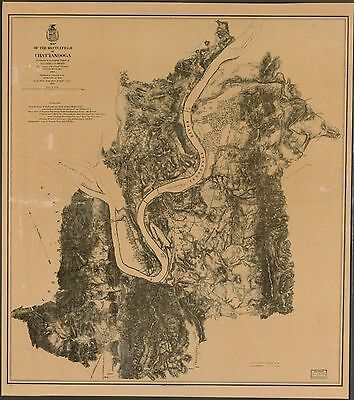 12x18 inch Reprint of American Military Map Chattanooga Tennessee