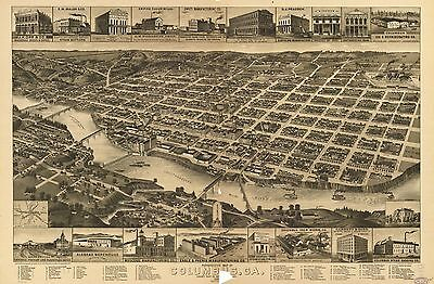 12x18 inch Reprint of American Cities Towns States Map Columbus Georgia
