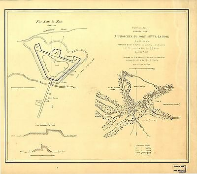 12x18 inch Reprint of American Military Map Fort Butte La Rose Louisiana