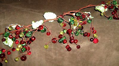 """Beautiful Red Green and Yellow Crystal Berry Leaf Christmas Garland 54 """" long"""