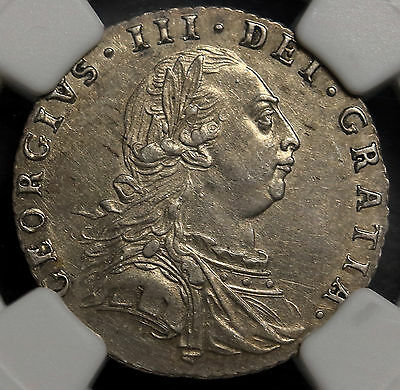 1787 UK  Great Britain 6 Pence KM# 606.1 George III Silver Sixpence NGC MS 62