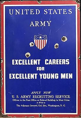 Vintage 1940's US Army Air Corps Military Recruiting Advertising Porcelain Sign