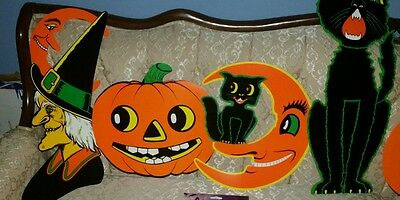 Fast Ship-4Beistle~Vintage Style~New Halloween Diecuts-Witch-Jol-Moon-Black🐱cat