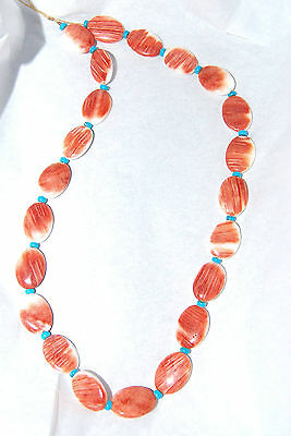 Red Orange Spiny Oyster Shell Flat Oval & Sleeping Beauty Turquoise Beads - 909B