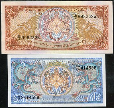 Bhutan Set 2 Pcs 1 5 Ngultrum P 12 14 Unc