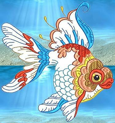 Decorative Goldfish 10 Machine Embroidery Designs Cd 4 Sizes Included