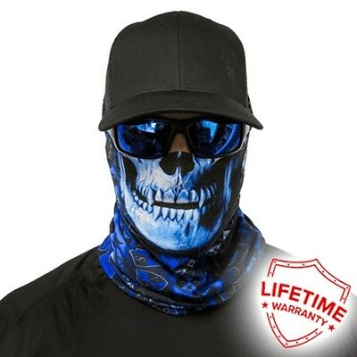 MOTORCYCLE FACE MASK - THE SKULL BLUE - (Moto, Hunting, Fishing, Paintball)