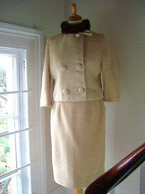 VINTAGE 60s, BEIGE SKIRT SUIT, MINK COLLAR, SMALL