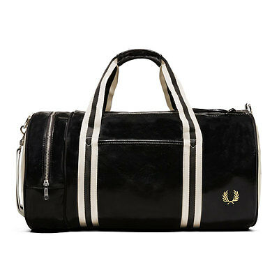 Fred Perry Classic Barrel Unisex Bags Black Ecru