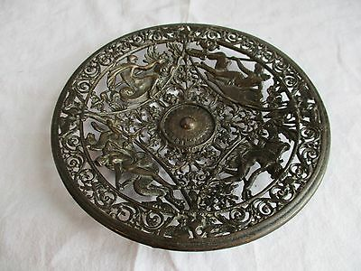 Antique Coalbrookdale Bronze Cast Iron Decorative Plate - Mermaids & Mermen