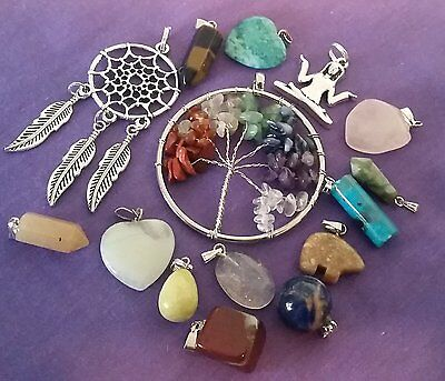 Wow Bargain - Huge Bulk Lot 15 Mixed Pendants Inc Gemstone With Free Post