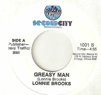 FUNK  LONNIE BROOKS Greasy Man SECOND CITY CHICAGO  SOUL 45