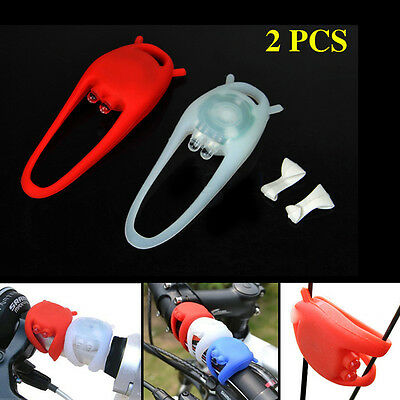 LED 3 Mode Silicone Mountain Bike Bicycle Front and Rear Light Set Inc Batteries