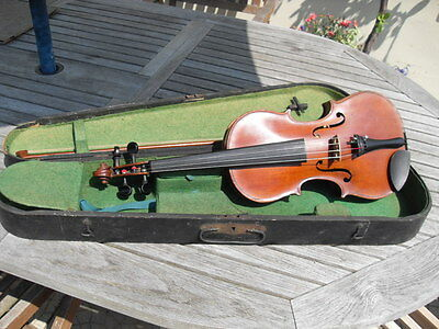 OLD VIOLIN, BOW & ORIGINAL CASE circa 1890 Germany Antique Murdoch Co Maidstone