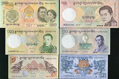 Bhutan Set 6 Pcs 1 5 10 20 50 100 2011-2013 P 27 31-35 (100=Wedding Comm) Unc