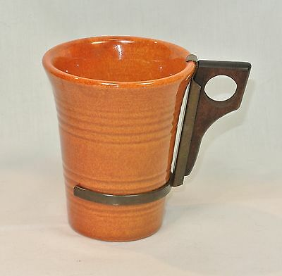 Vintage BAUER Pottery MONTEREY Red-Brown Rust TUMBLER with Handle Ringware