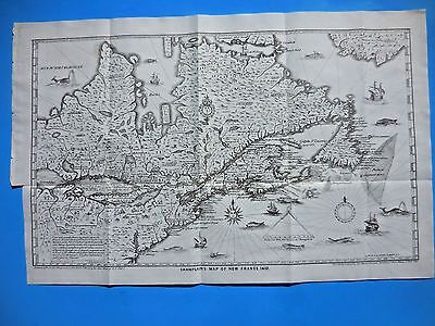 """ANTIQUE MAP """"CHAMPLAIN'S MAP NEW FRANCE  1632"""", by R.H. PEASE 1849; & 21p. text"""