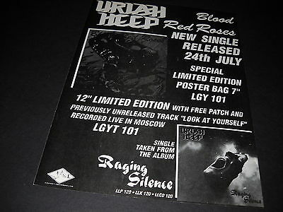 URIAH HEEP 1989 U.K. only Display Ad for BLOOD RED ROSES mint condition