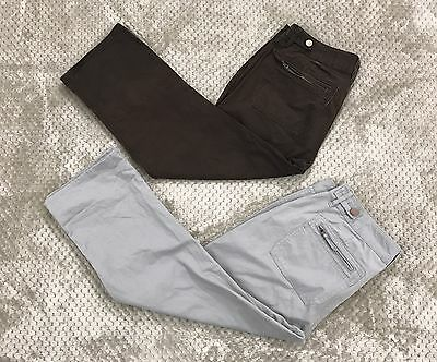 2 Pc Lot GAP Women's Sz 10 Cropped Capri Pants Brown Gray Cotton Zip Pockets