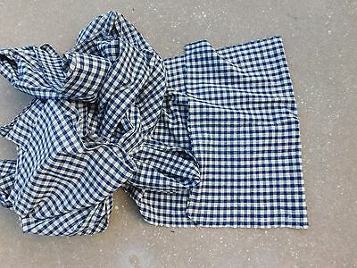 """Vintage Blue & White Gingham Checked Cotton? Fabric Material 49 Yds x 22.5"""" w"""