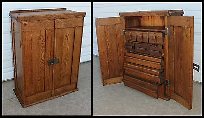 Antique Doctor Primitive Wood Apothecary Medicine Drugstore Parts Supply Cabinet
