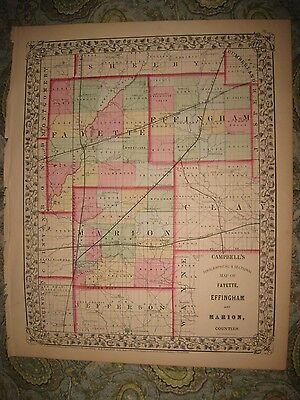 Superb Antique 1870 Fayette Effingham Marion County Illinois Handcolored Map Nr