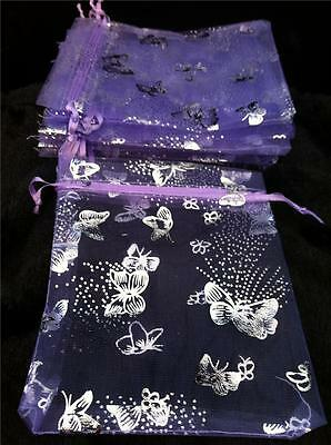 50 PRETTY NEW LILAC WITH SILVER BUTTERFLY ORGANZA GIFT FAVOUR BAGS 12cm X 9cm